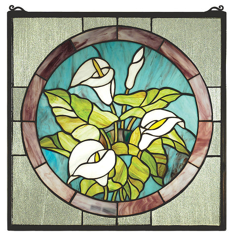 23866 Calla Lily Square Stained Glass Window by Meyda Lighting | 20 inches