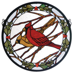 65289 Cardinals & Holly Stained Glass Window by Meyda Lighting | 15 inches