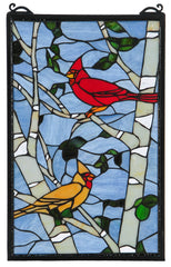 119436 Cardinals Stained Glass Window by Meyda Lighting | 12.75x20 inches