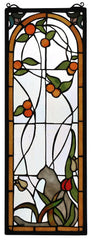 67117 Cat & Tulips Stained Glass Window by Meyda Lighting | 9x25 inches