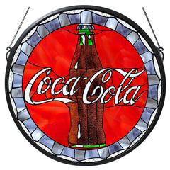 106225 Coca-Cola Bottle Cap Stained Glass Window by Meyda Lighting | 21""