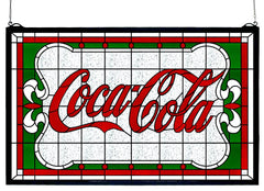 106234 Coca-Cola Nouveau Stained Glass Window by Meyda Lighting | 27x16""