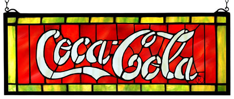 106206 Coca-Cola Stained Glass Window by Meyda Lighting | 28x10 inches