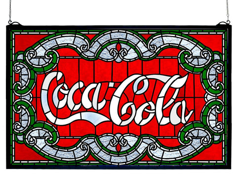 106235 Coca-Cola Victorian Stained Glass Window by Meyda Lighting | 24x15""