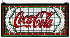 106233 Coca-Cola Victorian Web Red Stained Glass by Meyda Lighting | 25x12""