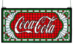 106231 Coca-Cola Victorian Web White Stained Glass by Meyda Lighting | 25x12""