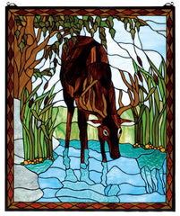 72936 Deer Rectangular Stained Glass Window by Meyda Lighting | 25x30 inches