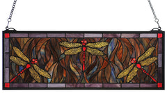 48091 Dragonfly Flight Stained Glass Window by Meyda Lighting | 28x10 inches