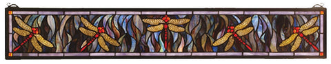 72896 Dragonfly Flight Stained Glass Window by Meyda Lighting | 40x6.5""