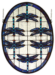 78087 Dragonfly Oval Stained Glass Window by Meyda Lighting | 22x30 inches