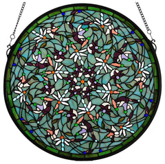 98956 Dragonfly Swirl Sky Stained Glass Window by Meyda Lighting | 22 inches