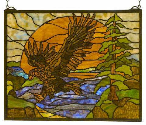 98106 Eagle at Sunset Stained Glass Window by Meyda Lighting | 20x16 inches