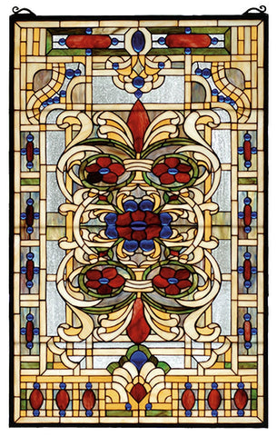 71268 Estate Floral Stained Glass Window by Meyda Lighting | 22x35 inches