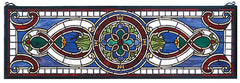 77907 Evelyn in Lapis Transom Stained Glass by Meyda Lighting | 35x11 inches