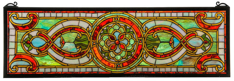 77908 Evelyn in Topaz Transom Stained Glass by Meyda Lighting | 35x11 inches