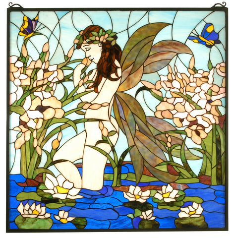67521 Fairy Pond Square Stained Glass Window by Meyda Lighting | 30 inches