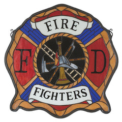 18999 Fireman's Shield Stained Glass Window by Meyda Lighting | 20x20 inches