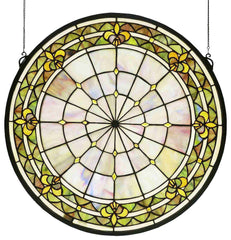 49840 Fleur-de-lis Green Stained Glass Window by Meyda Lighting | 21 inches