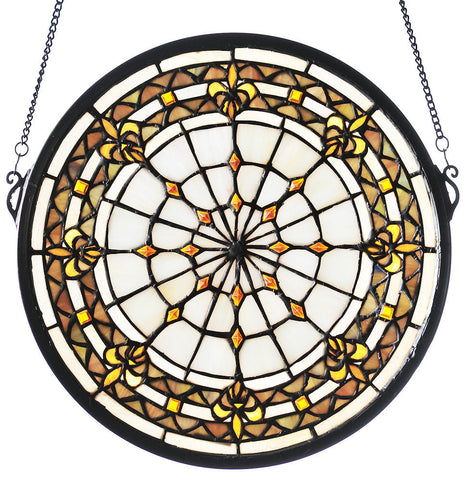 49839 Fleur-de-lis Ivory Stained Glass Window by Meyda Lighting | 13 inches