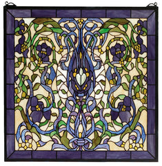 66280 Floral Fantasy Square Stained Glass Window by Meyda Lighting | 22""