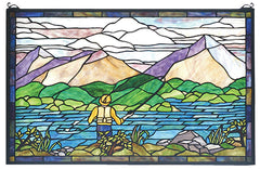 73649 Fly Fishing Stained Glass Window by Meyda Lighting | 30x19 inches