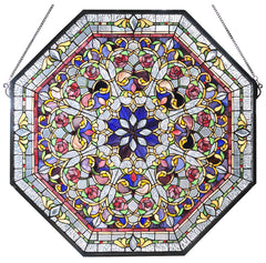 107222 Front Hall Floral Blue Stained Glass by Meyda Lighting | 24.5 inches
