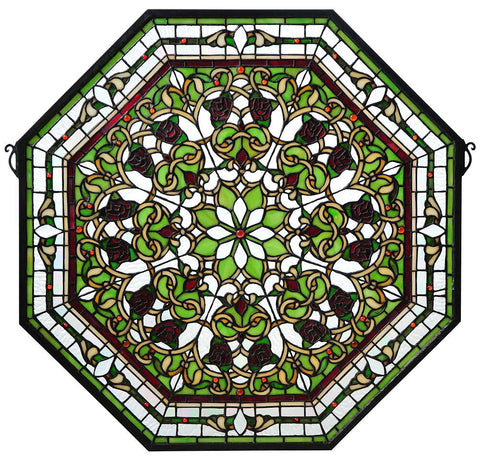 107223 Front Hall Floral Green Stained Glass by Meyda Lighting | 24.5 inches