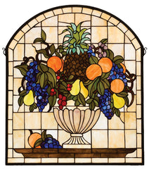 13297 Fruit Bowl Arch Stained Glass Window by Meyda Lighting | 25x29 inches
