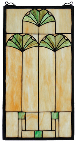 67787 Ginkgo Stained Glass Window by Meyda Lighting | 11x20 inches