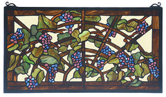 78088 Grape Arbor Stained Glass Window by Meyda Lighting | 22x12 inches