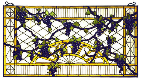 79789 Grape Diamond Trellis Stained Glass by Meyda Lighting | 32x17 inches