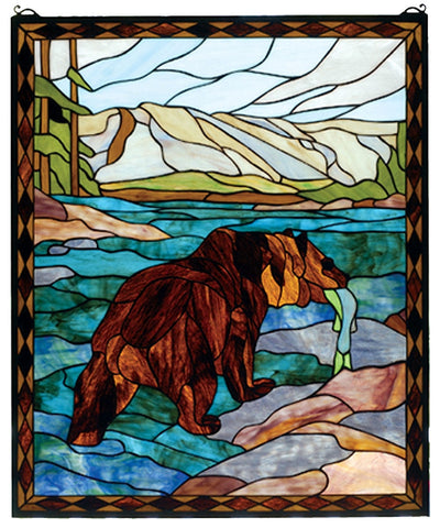 72934 Grizzly Bear Stained Glass Window by Meyda Lighting | 25x30 inches