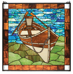21440 Guideboat Beached Stained Glass Window by Meyda Lighting | 26 inches