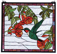 81540 Hummingbird Stained Glass Window by Meyda Lighting | 21x19 inches