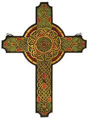 79986 Jeweled Celtic Cross Stained Glass Window by Meyda Lighting | 25x34""