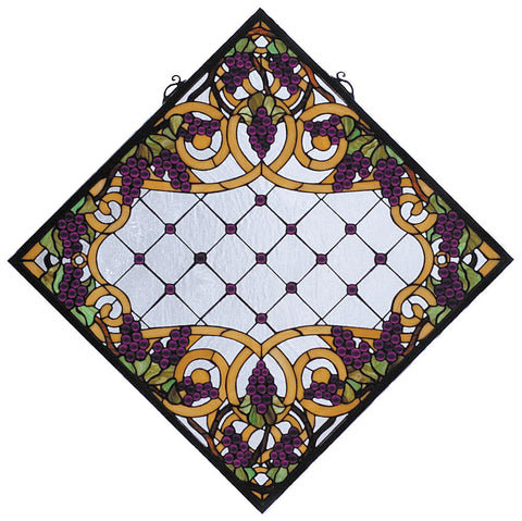 67144 Jeweled Grape Gold Diamond Stained Glass by Meyda Lighting | 25.5""