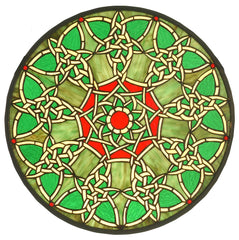 51527 Knotwork Trance Green Stained Glass Window by Meyda Lighting | 20""