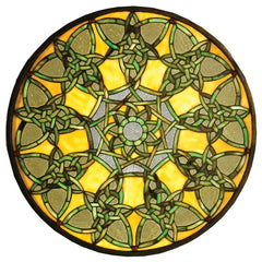 51531 Knotwork Trance Yellow Stained Glass Window by Meyda Lighting | 20""