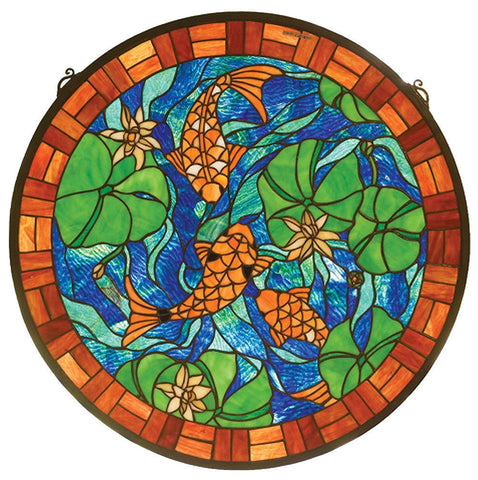 82558 Koi Pond Lily Medallion Stained Glass Window by Meyda Lighting | 24""