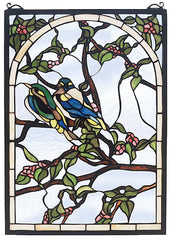47966 Lovebirds Stained Glass Window by Meyda Lighting | 14x20 inches