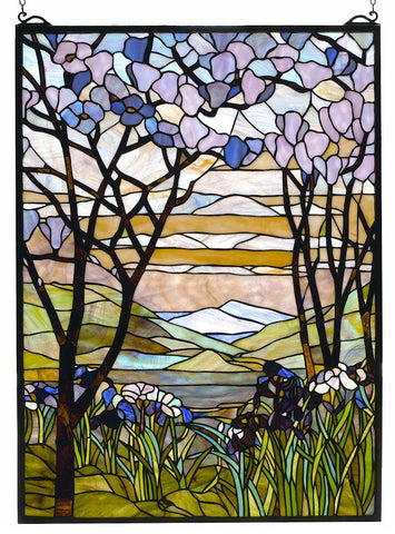 98589 Magnolia & Iris Stained Glass Window by Meyda Lighting | 22x30 inches