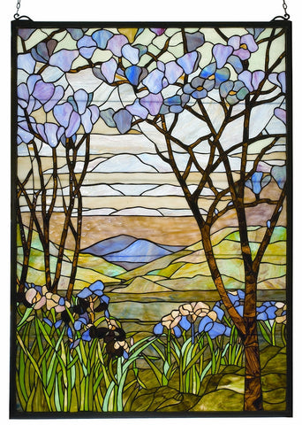 12514 Magnolia & Iris Stained Glass Window by Meyda Lighting | 29x40 inches