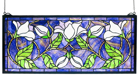 30705 Magnolia Stained Glass Window by Meyda Lighting | 25x11 inches