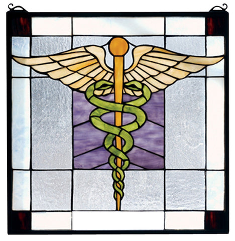 81519 Medical Square Stained Glass Window by Meyda Lighting | 18 inches