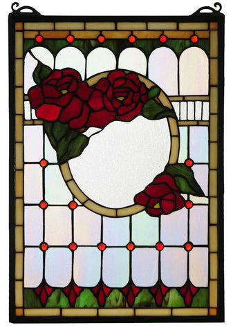 119443 Morgan Rose Stained Glass Window by Meyda Lighting | 14x20 inches