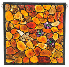 142632 Mosaic Agata & Flowers Stained Glass Window by Meyda Lighting | 19.5""