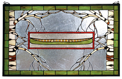 70490 North Country Canoe Stained Glass Window by Meyda Lighting | 28x18""