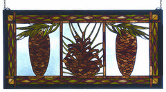 81470 Northwoods Pinecone Stained Glass Window by Meyda Lighting | 36x18""