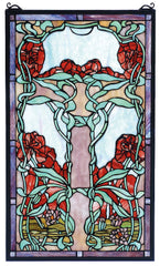 65711 Nouveau Lily Red Stained Glass Window by Meyda Lighting | 15x25 inches