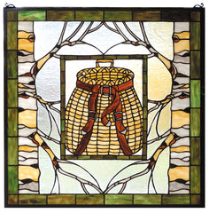73909 Pack Basket Stained Glass Window by Meyda Lighting | 24.5 inches